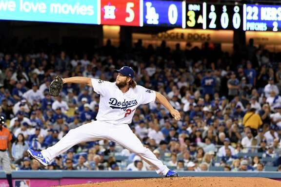 The Los Angeles Dodgers' Clayton Kershaw comes on in relief against the Houston Astros in the third inning during Game 7 of the World Series at Dodger Stadium in Los Angeles on Wednesday, Nov. 1, 2017. (Wally Skalij/Los Angeles Times/TNS)