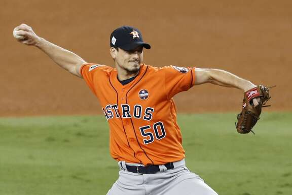 Houston Astros starting pitcher Charlie Morton pitches against the Los Angeles Dodgers during the sixth inning of Game 7 of the World Series at Dodger Stadium on Wednesday, Nov. 1, 2017, in Los Angeles. ( Brett Coomer / Houston Chronicle )