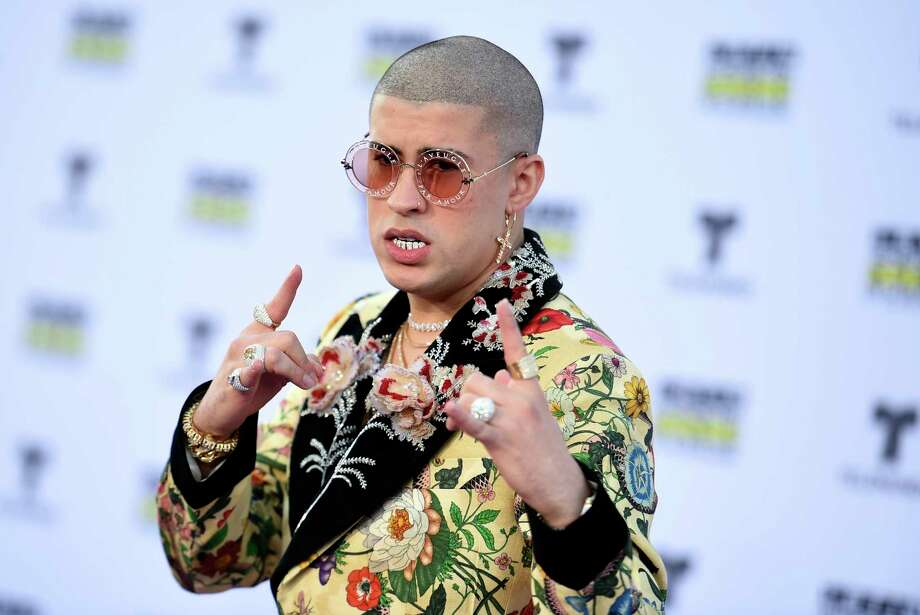 Bad Bunny arrives at the Latin American Music Awards at the Dolby Theatre on Thursday, Oct. 26, 2017, in Los Angeles. (Photo by Richard Shotwell/Invision/AP) Photo: Richard Shotwell, Associated Press / 2017 Invision