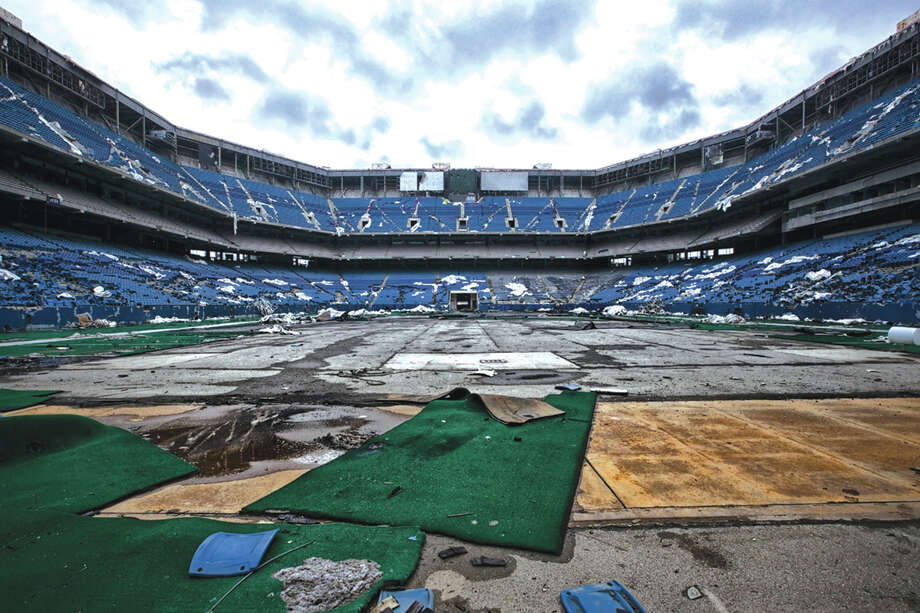 "A photo of an empty and decaying stadium by Sue Rakers is an example of what will be on display  in the EAC's ""Void: Places Without People,"" exhibit. Photo: For The Edge / Marie Rakers"