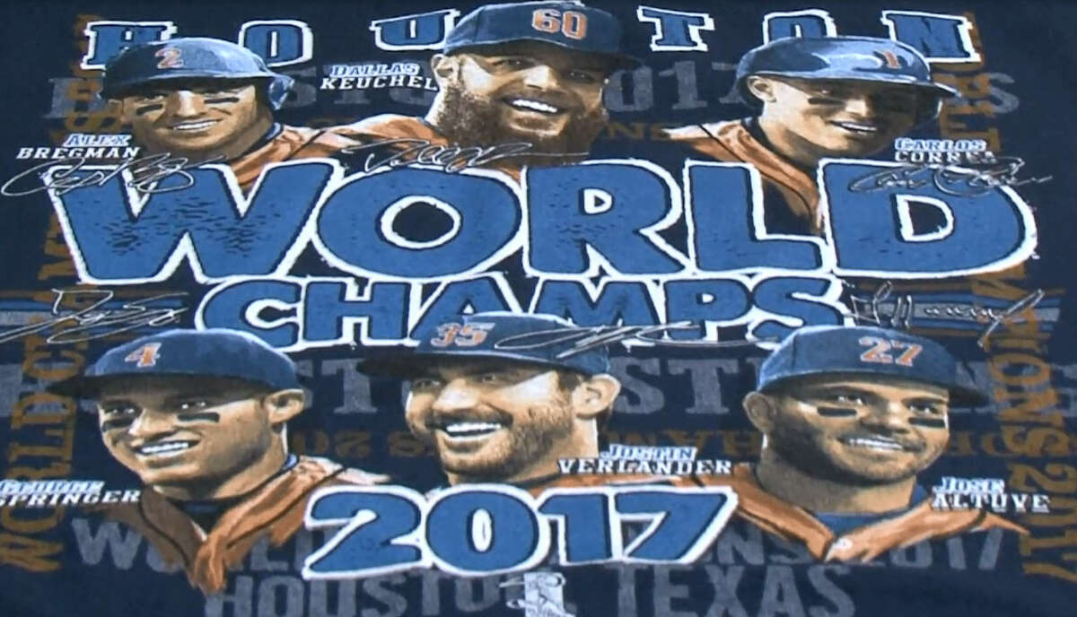 Paul the Printer in Houston is printing Astros 2017 World Series championship t-shirts.