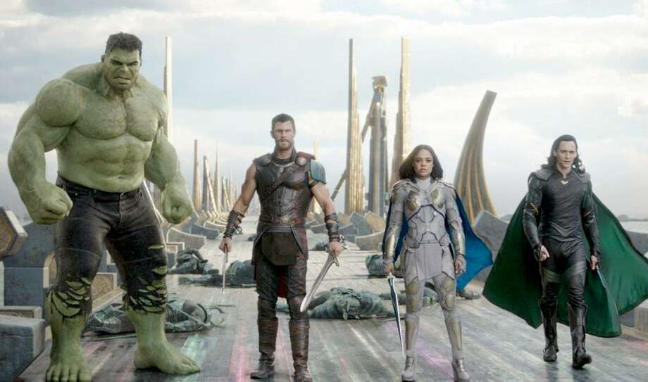 """Thor: Ragnarok"" showcases a fantastic foursome with (left to right) the Hulk (Mark Ruffalo), Thor (Chris Hemsworth), Valkyrie (Tessa Thompson) and Loki (Tom Hiddleston). But the film borrows story elements from two of the biggest names in comics to ever write and illustrate its two biggest heroes: Hulk and Thor. Those creative titans would be ""The Incredible Hulk"" scribe Greg Pak, and ""The Mighty Thor"" writer and artist Walt Simonson. Photo: Marvel Studios / Marvel Studios"