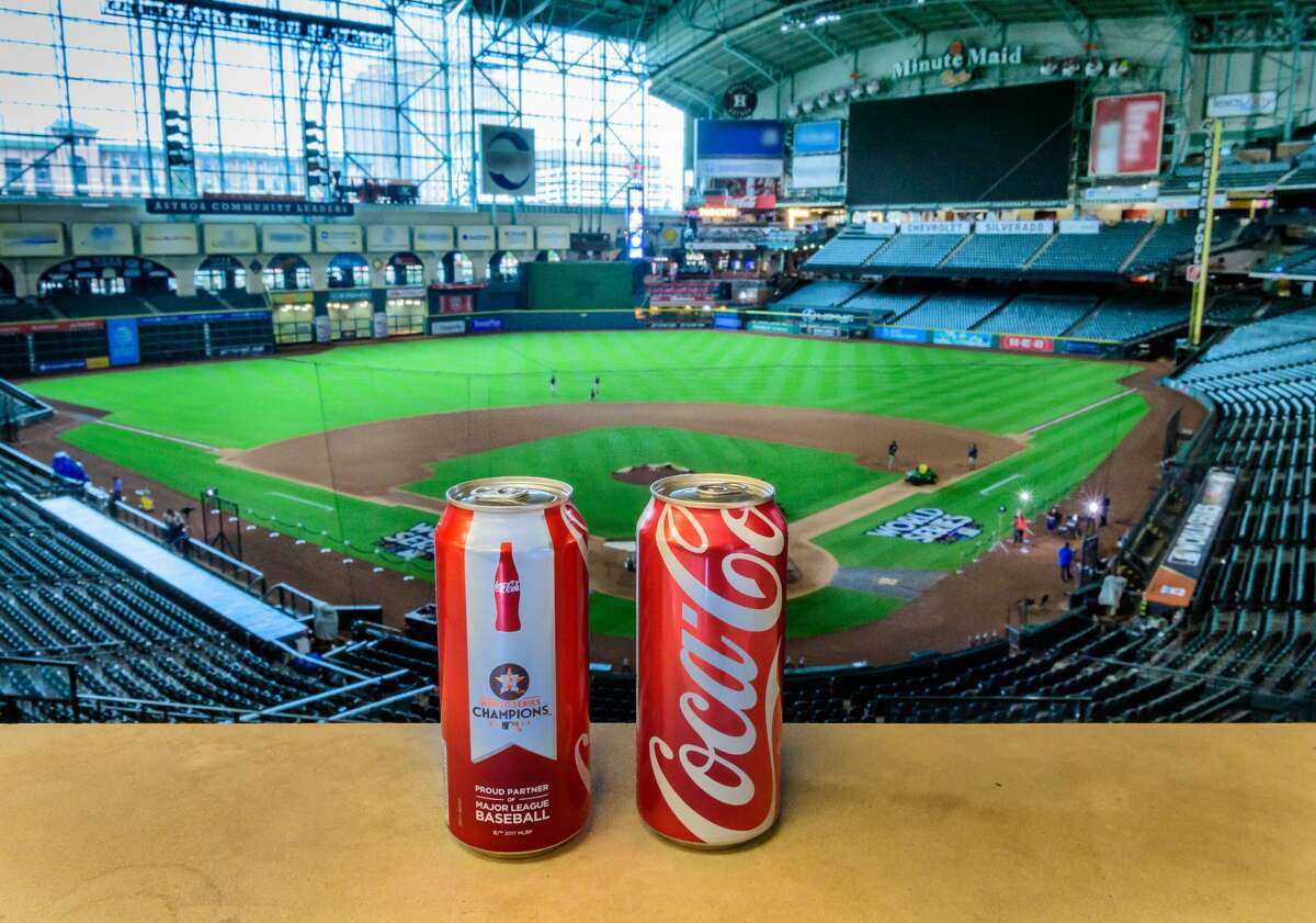 Fans that attended Wednesday night's exhilarating World Series watch party at Minute Maid Park were the first to see special Coca-Cola cans celebrating the Houston Astros' epic 2017 season.