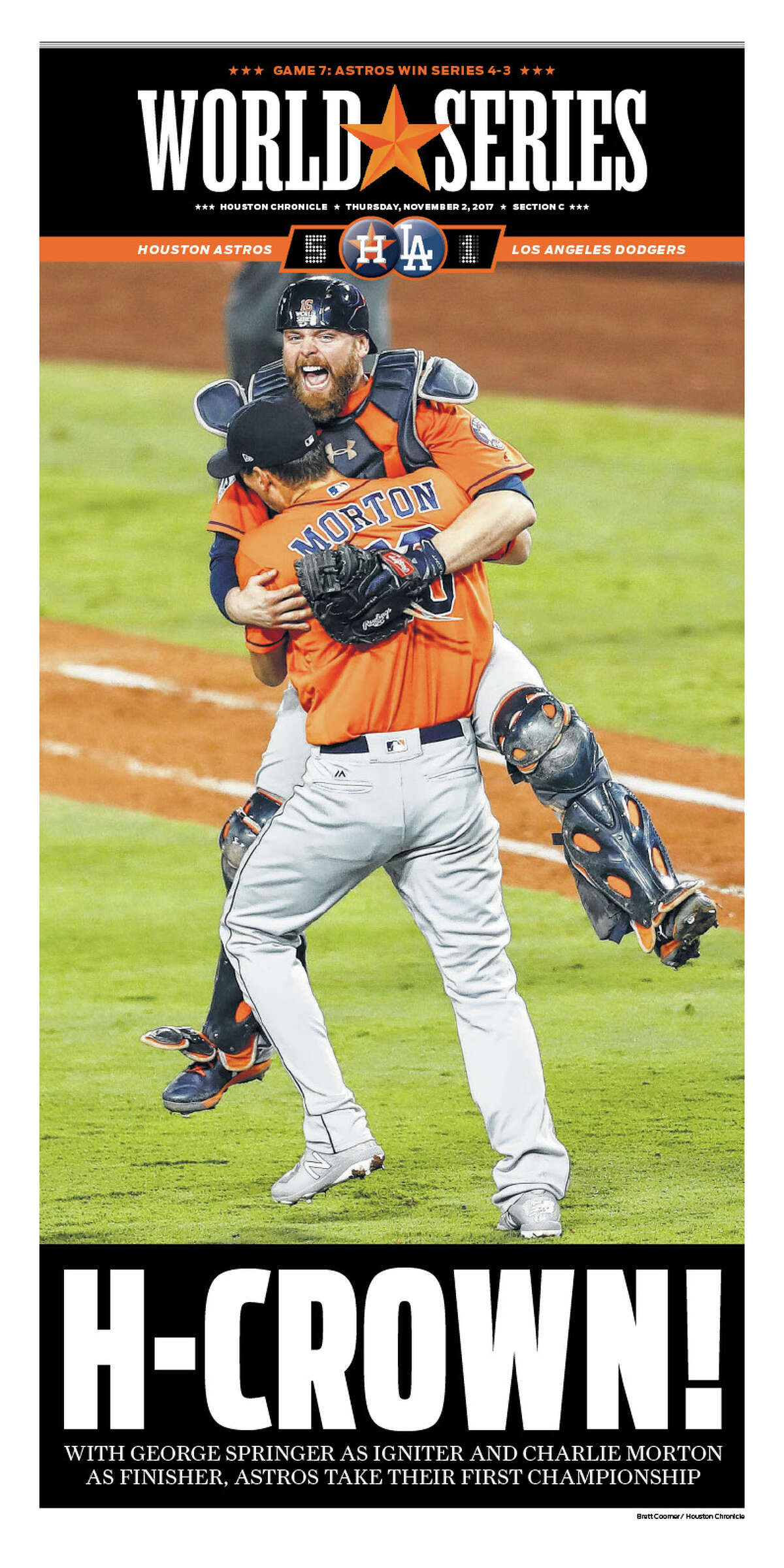 Here's how the Houston Chronicle covered the Houston Astros' World Series win.