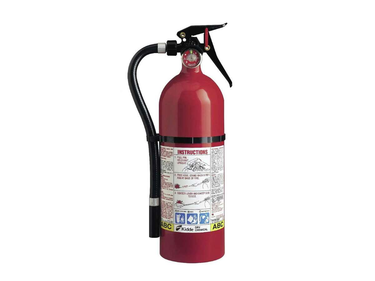 This photo from the U.S. Consumer Product Safety Commission website shows a Kidde plastic handle fire extinguisher. More than 40 million fire extinguishers in the U.S. and Canada are being recalled by Kidde because they might not work.