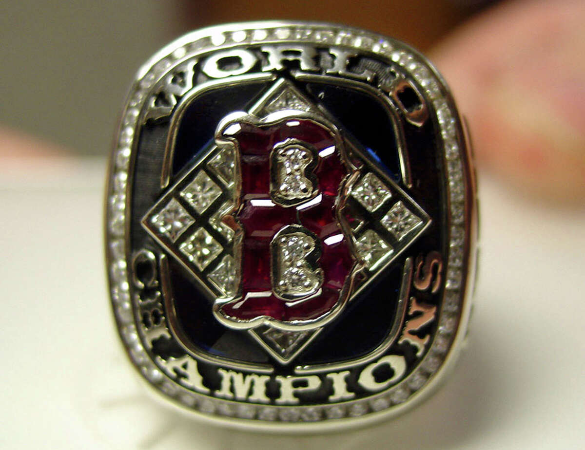 A Boston Red Sox 2004 World Series ring appears in this undated handout photo provided by the Boston Herald newspaper. (AP Photo/Boston Herald)
