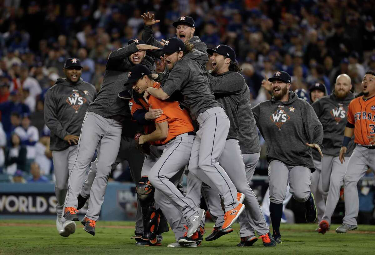 The Houston Astros celebrate after winning the World Series on Nov. 1 in Los Angeles.