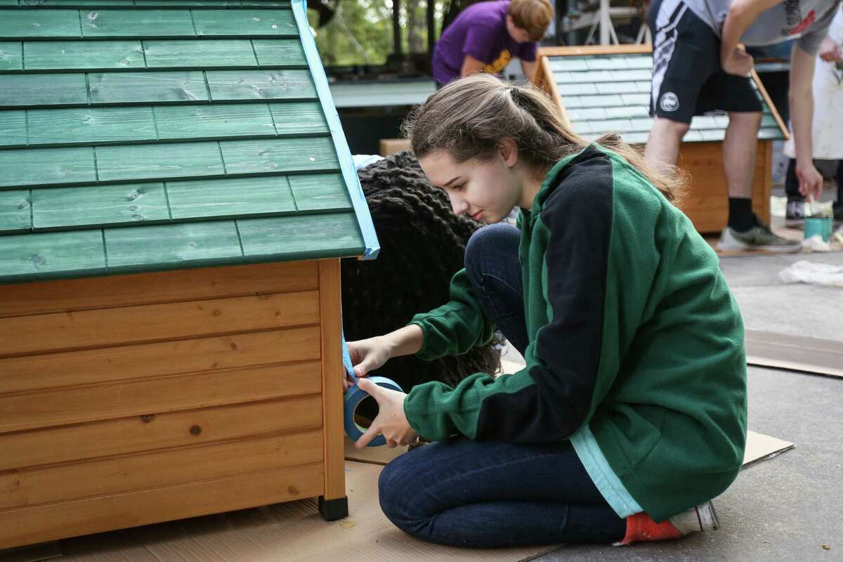 The John Cooper School junior Kennedy Kovin applies painters tape while building a dog house during the Cooper Cares Day on Tuesday, Oct. 31, 2017, at The John Cooper School.