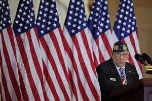 Celestino Almeda, a Filipino World War II veteran, speaks during a ceremony at the U.S. Capitol.