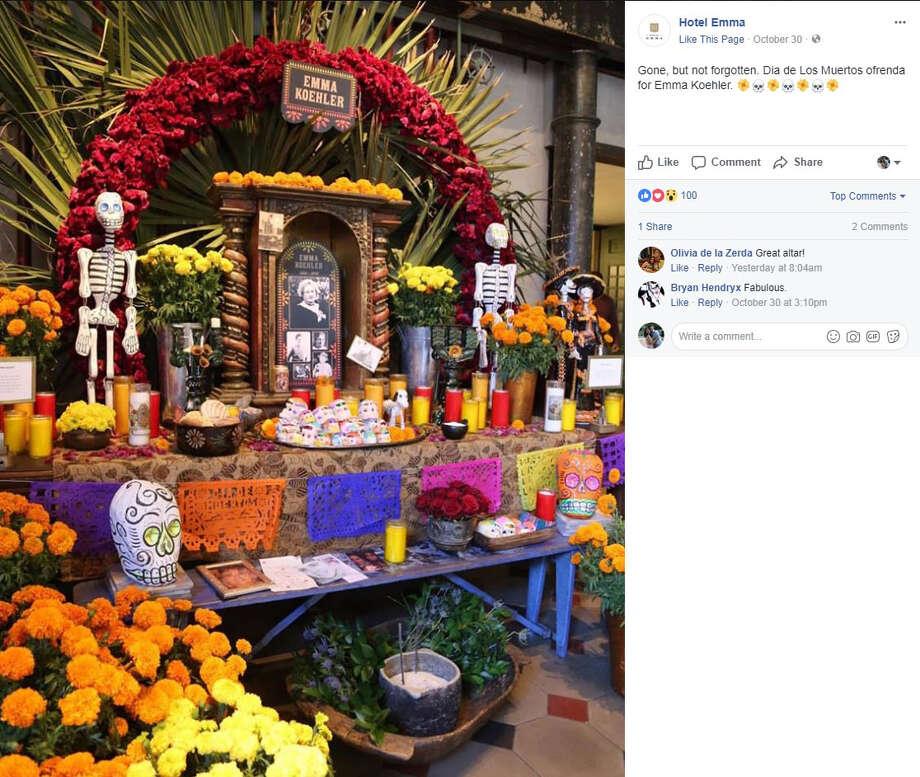 "Hotel Emma: ""Gone, but not forgotten. Dia de Los Muertos ofrenda for Emma Koehler."" Photo: Facebook/Hotel Emma"
