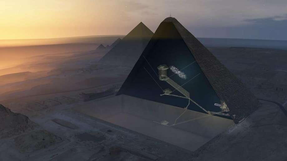 A 3-D rendition of the Great Pyramid shows the location of the void as a cluster of white dots. Photo: ScanPyramids Mission