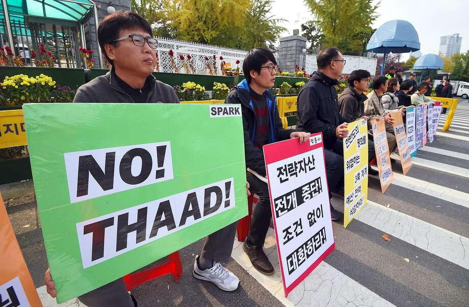 South Koreans protest a U.S. missile defense system known as THAAD ahead of Trump's visit. Photo: JUNG YEON-JE, AFP/Getty Images