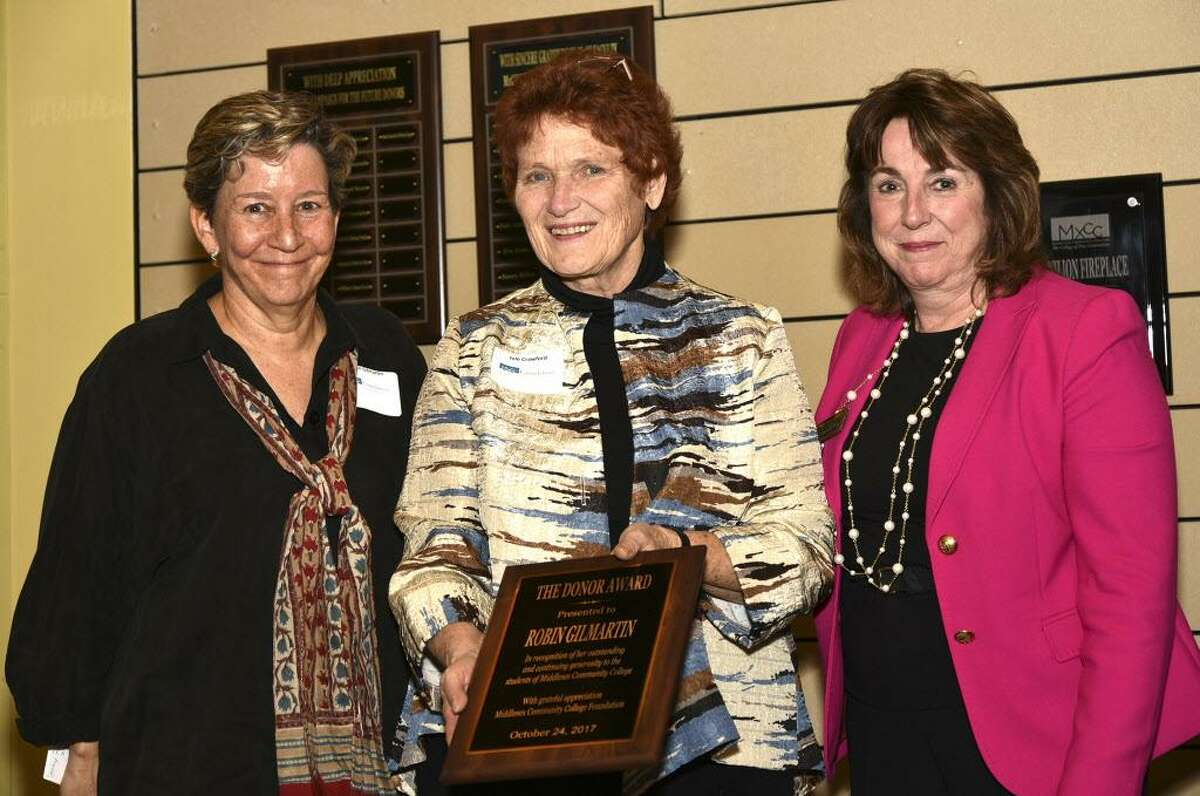 From left are Middlesex Community College Foundation donor award recipient Robin Gilmartin, foundation board chairwoman, MxCC alumna and Middletown attorney Julé Crawford; and Associate Dean of Development Cheryl Dumont-Smith.