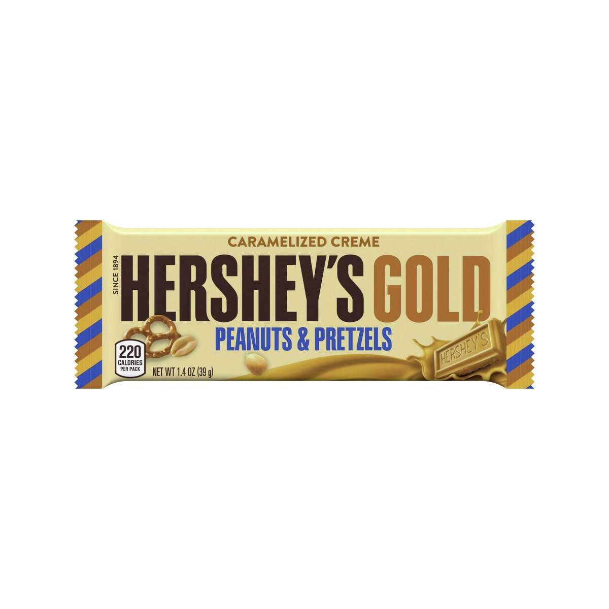 The new candy bar Hershey's Gold will go on sale Dec. 1. It's described as a caramelized cream bar embedded with salty peanut and pretzel bits.