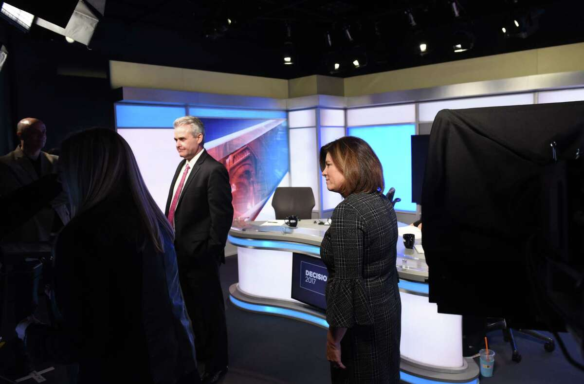 Candidates for Rensselaer County Executive; Republican Assemblyman Steven McLaughlin, left, and Democrat Andrea Smyth, right, prepare to take part in a debate at Spectrum News on Thursday, Nov. 2, 2017, in Albany, N.Y. (Will Waldron/Times Union)