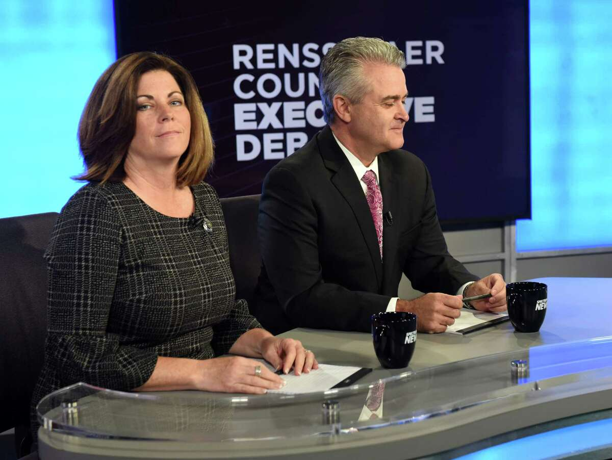 Candidates for Rensselaer County Executive, Democrat Andrea Smyth, left, and Republican Assemblyman Steven McLaughlin, right, take part in a debate at Spectrum News on Thursday, Nov. 2, 2017, in Albany, N.Y. (Will Waldron/Times Union)