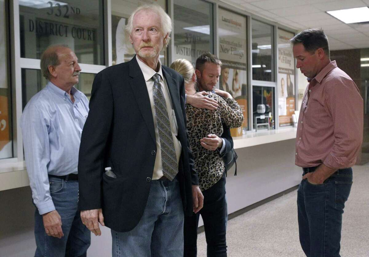 Martin Knell Jr. leaves the courtroom in Edinburg, Texas, following the verdict in Monica Patterson's capital murder trial at on Wednesday, Nov. 1, 2017. Patterson, the former administrator of a South Texas hospice, has been convicted of capital murder in the January 2015 death of Knell's father, 96-year-old Martin Knell, and of other theft and misuse of funds.