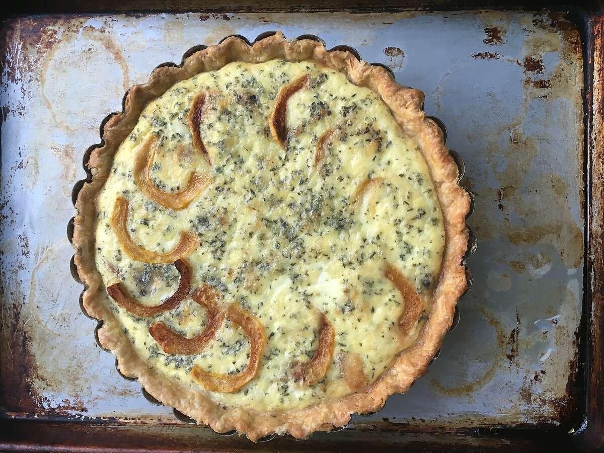 Roasted squash, shallot, and blue cheese tart