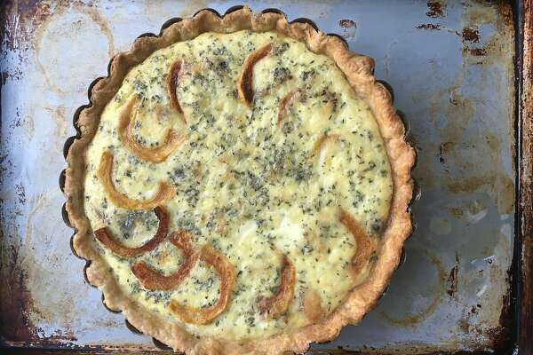 Roasted squash, shallot, and blue cheese tart