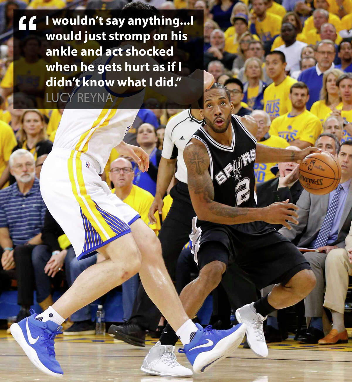 If Spurs fans had the chance to speak to Golden State Warrior Zaza Pachulia, whose notorious foul on Kawhi Leonard led to a season-ending injury, this is what they would say/do.