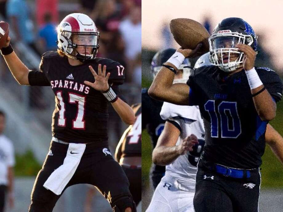 Porter quarterback Zane Russell, left, and New Caney quarterback Jordan Cooper, right. Photo: The Courier