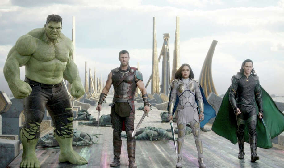 "Hulk (Mark Ruffalo), Thor (Chris Hemsworth), Valkyrie (Tessa Thompson) and Loki (Tom Hiddleston) star in ""Thor: Ragnarok."" MUST CREDIT: Marvel Studios Photo: Marvel Studios / Marvel Studios"