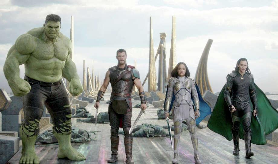 "Hulk (Mark Ruffalo), Thor (Chris Hemsworth), Valkyrie (Tessa Thompson) and Loki (Tom Hiddleston) star in ""Thor: Ragnarok."" MUST CREDIT: Marvel Studios Photo: Marvel Studios / Marvel Studios"