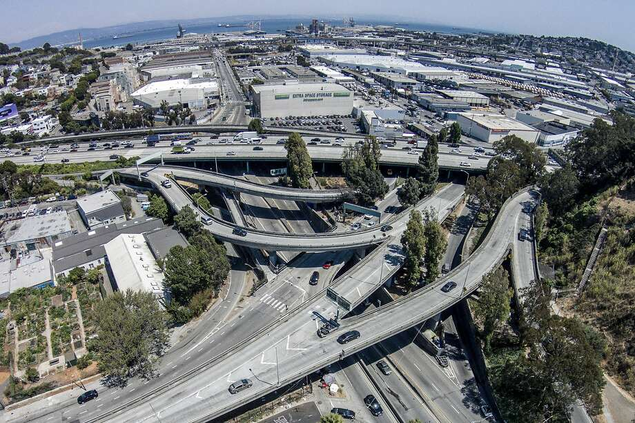"The junction of I-280 and Highway 101, along with many on-and-off ramps near Cesar Chavez Street and Potrero Avenue, has been dubbed the ""Hairball."" It's one of the more dangerous areas in San Francisco for bicyclists and pedestrians. Photo: Santiago Mejia, The Chronicle"