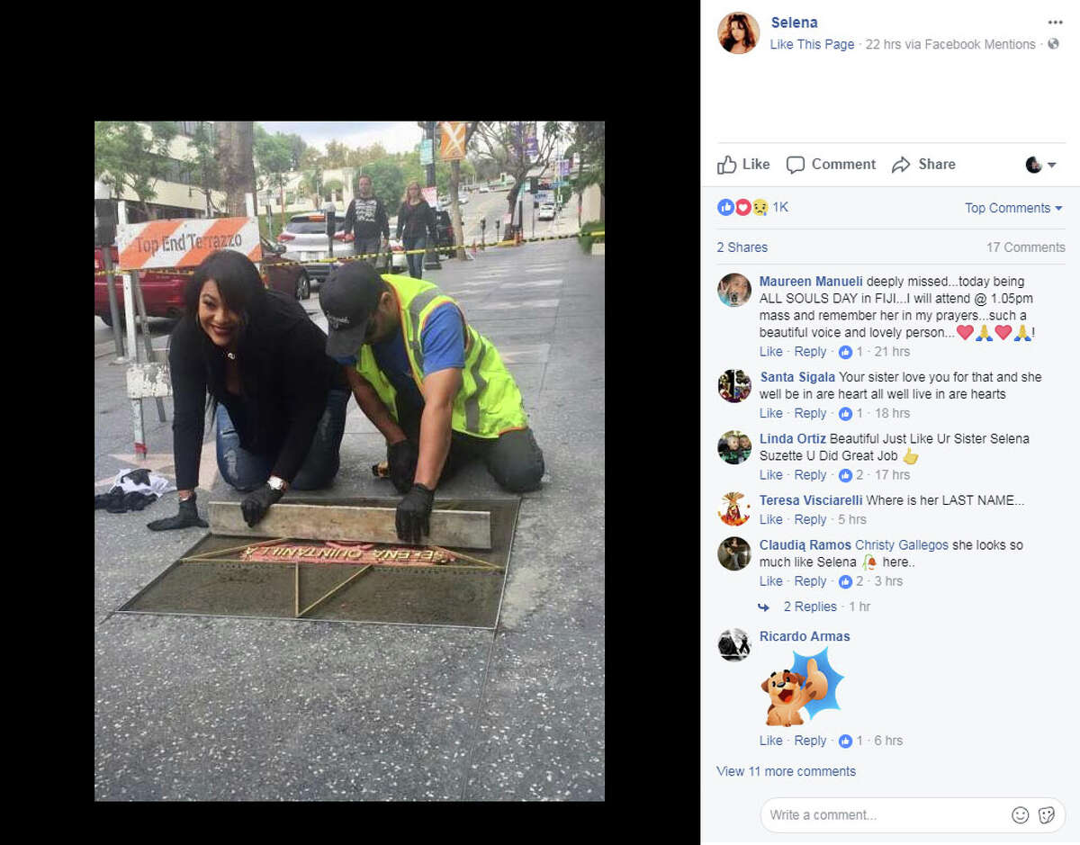 Suzette Quintanilla, Selena's sister, shared photos from the Hollywood Walk of Fame on Wednesday, Nov. 1, 2017, showing her and crews installing the star just outside of the Capitol Records building in Los Angeles, California.