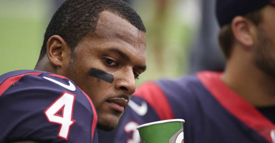 Houston Texans quarterback Deshaun Watson (4) on the sidelines during an NFL football game against the Cleveland Browns, Sunday, Oct. 15, 2017, in Houston. (AP Photo/Eric Christian Smith) Photo: Eric Christian Smith/Associated Press