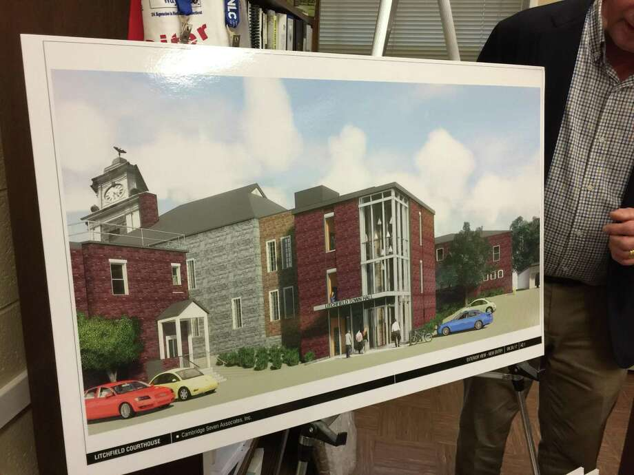 The Greater Litchfield Preservation Trust presented a plan to convert the former Litchfield Judicial District courthouse into a new Town Hall Tuesday evening. Photo: Ben Lambert / Hearst Connecticut Media