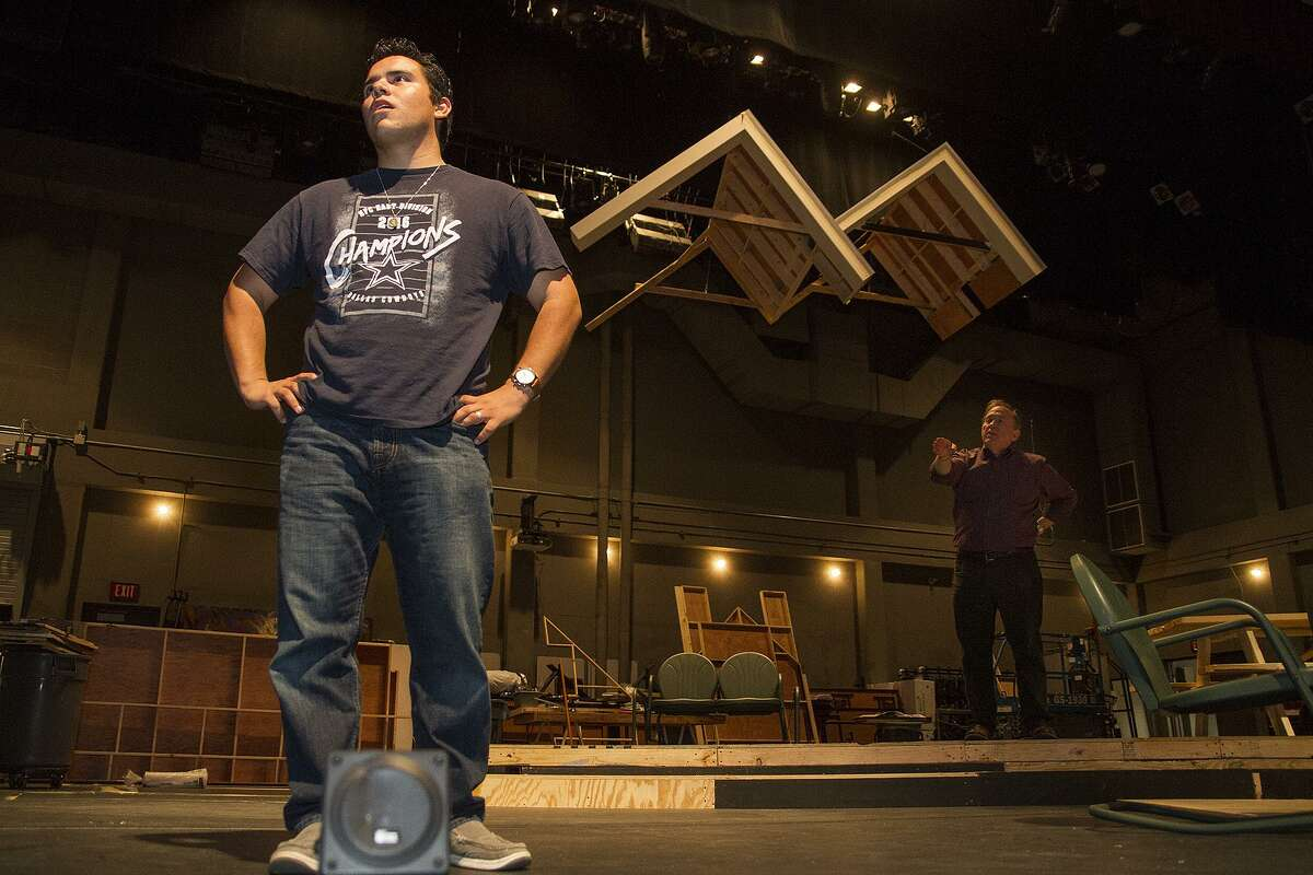 """Louis Valdez (left) and Byrd Bonner play a father and son in """"All My Sons,"""" an Arthur Miller play that delves into corporate responsibility."""