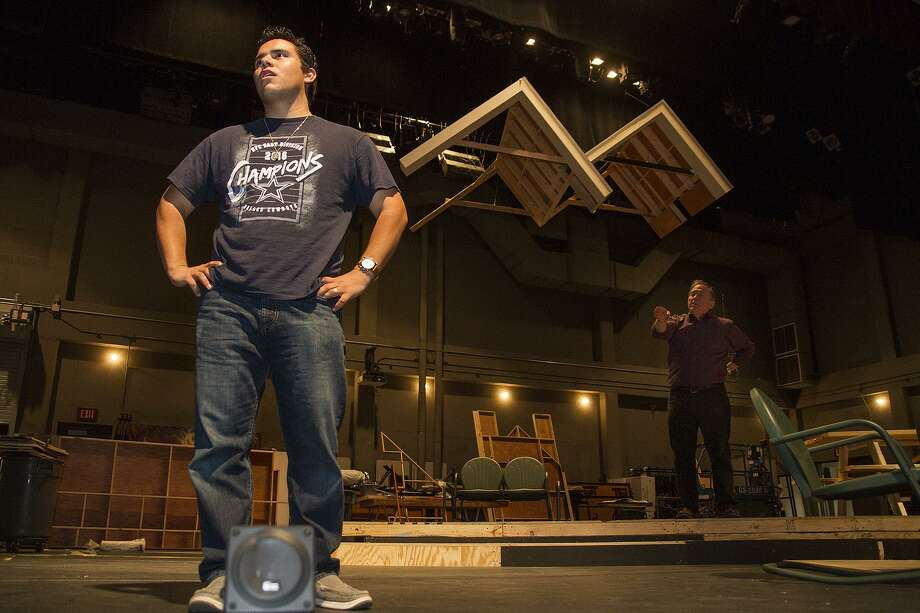 """Louis Valdez (left) and Byrd Bonner play a father and son in """"All My Sons,"""" an Arthur Miller play that delves into corporate responsibility. Photo: Alma E. Hernandez /For The San Antonio Express News"""