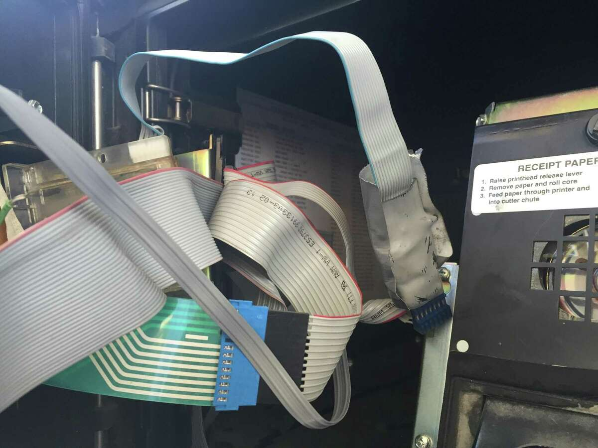 Credit card skimmers like this one found by the San Antonio Police Department can be placed inside gas pumps and steal the financial information of unsuspecting customers. Click through to see what you can look for and do to help avoid these devices.