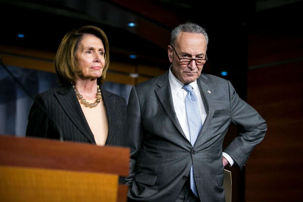 Senate Minority Leader Chuck Schumer (D-N.Y.) and House Minority Leader Nancy Pelosi (D-Calif.) during a news conference about the Democrats' stance against the new Republican-led tax plan, on Capitol Hill in Washington, Nov. 2, 2017. The Republican plan would cut corporate taxes to 20 percent while delivering more modest savings for middle-class families but would not impact 401(k) plans as many feared. (Al Drago/The New York Times)