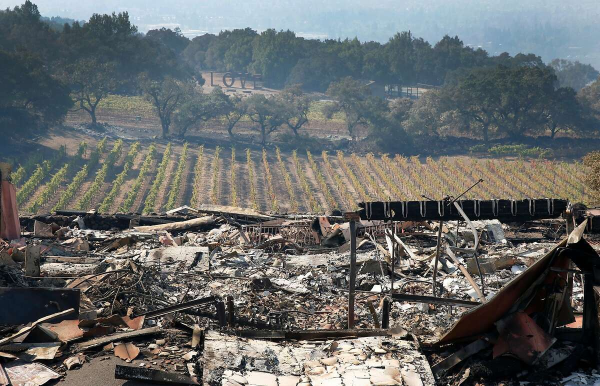 The tasting room of the Paradise Ridge Winery, with views overlooking the vineyards, lies in ruins in Santa Rosa, Calif. on Thursday Oct. 12, 2017 after the Tubbs Fire destroyed virtually everything in its path Monday morning.