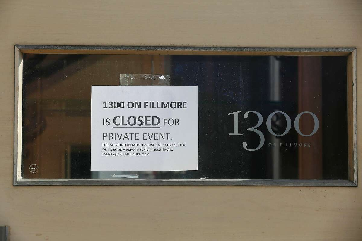 A sign on the front of 1300 Fillmore says that it's closed but can be booked for private events at the Fillmore Heritage Center on Thursday, November 2, 2017 in San Francisco.
