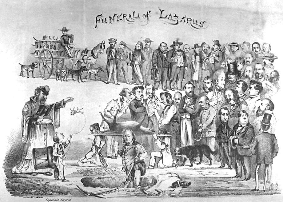 """The Funeral of Lazarus"": Edward Jump's cartoon portrays Emperor Norton presiding over the funeral. A dogcatcher can be seen in the background. Photo: Edward Jump"