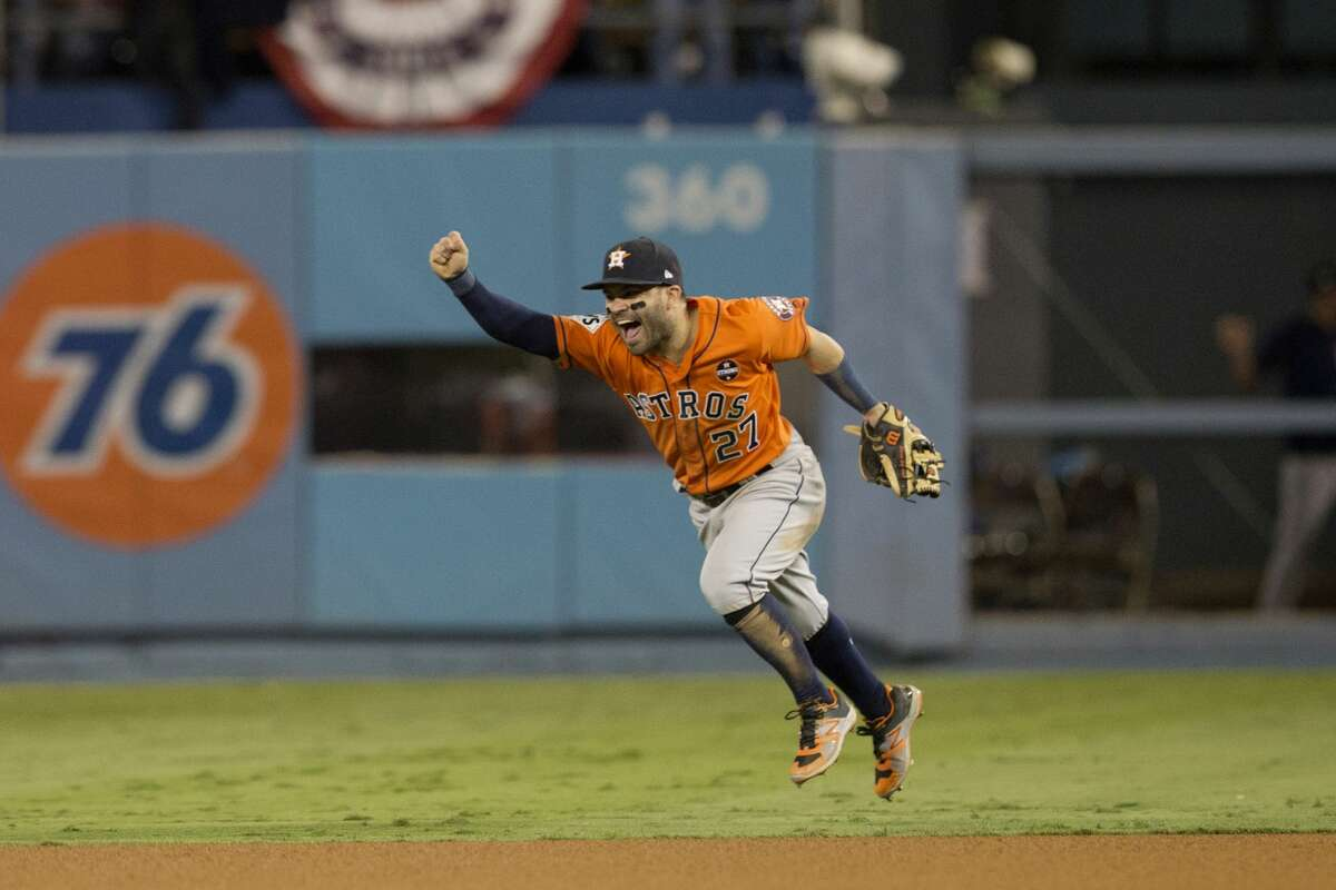 Jose Altuve #27 of the Houston Astros celebrates on the field after the Astros defeated the Los Angeles Dodgers in Game 7 of the 2017 World Series at Dodger Stadium on Wednesday, November 1, 2017 in Los Angeles, California. (Photo by Rob Tringali/MLB Photos via Getty Images)