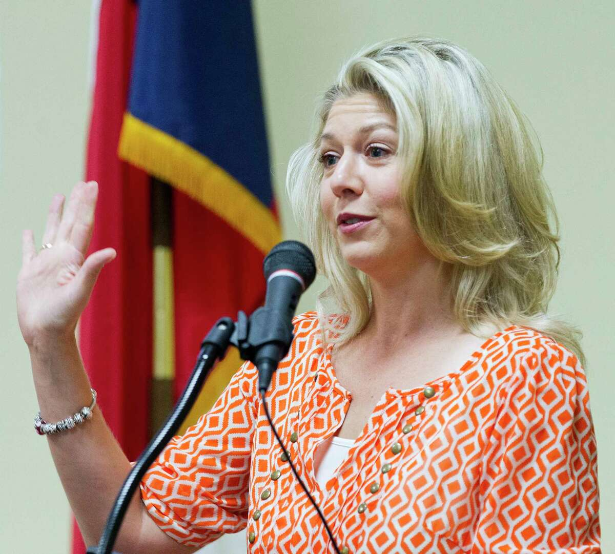 Laura Fillault, incumbent for Position 7 with The Woodlands Township Board of Directors, speaks during a Texas Patriots PAC meeting, Tuesday, Sept. 19, 2017, in The Woodlands.