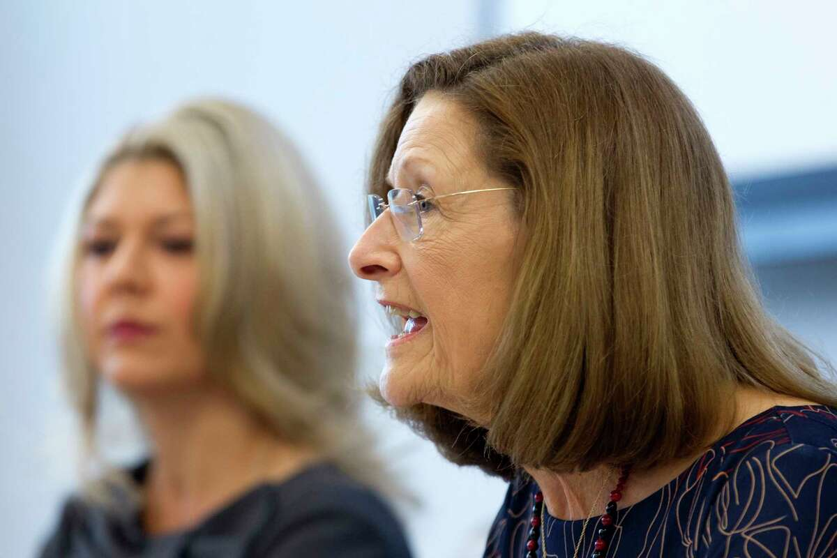 Carol Stromatt, position 7 candidate for The Woodlands Township Board of Directors, speaks during a candidate forum at The Woodlands Area Chamber of Commerce, Friday, Sept. 22, 2017, in The Woodlands.
