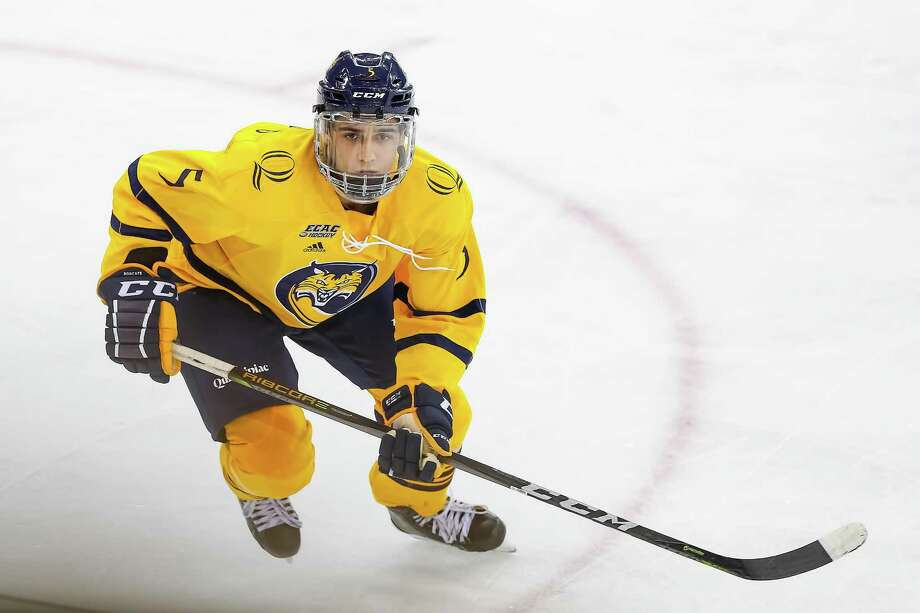 Quinnipiac's Brandon Fortunato is back playing hockey games after a 440-day absence due to transfer rules. Photo: Courtesy Of Quinnipiac Athletics / © Rob Rasmussen