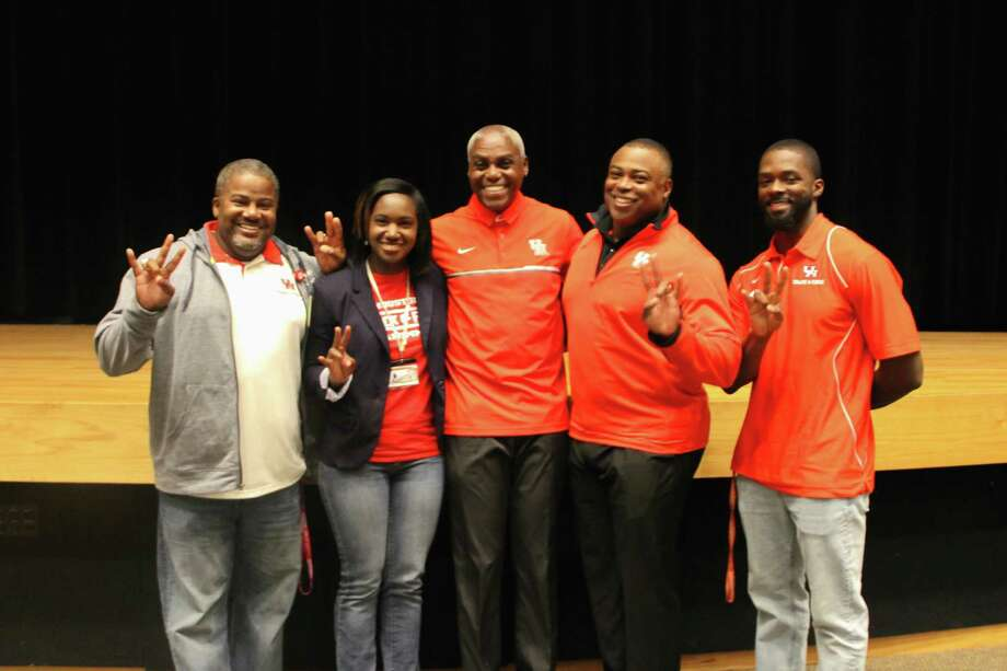 Pictured, from left to right, areShelton Ervin, Jennifer Harper, Carl Lewis, Leroy Burrell and Thomas Lang. Photo: Courtesy