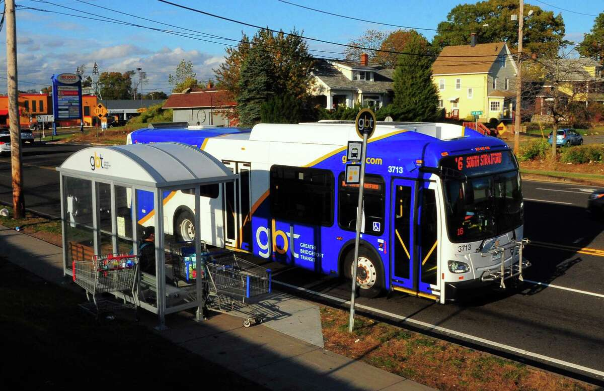 Greater Bridgeport Transportation's Number 16 bus at the Stratford stop near The Dock Shopping Center in Stratford, Conn., on Thursday Nov. 2, 2017. On Nov. 5, GBT will suspend 3 routes: 14, 16 & 20.