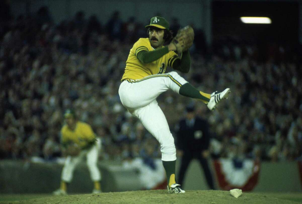 Darold Knowles of the A's pitches against the Mets in the 1973 World Series. He pitched in all seven games as the A's won.