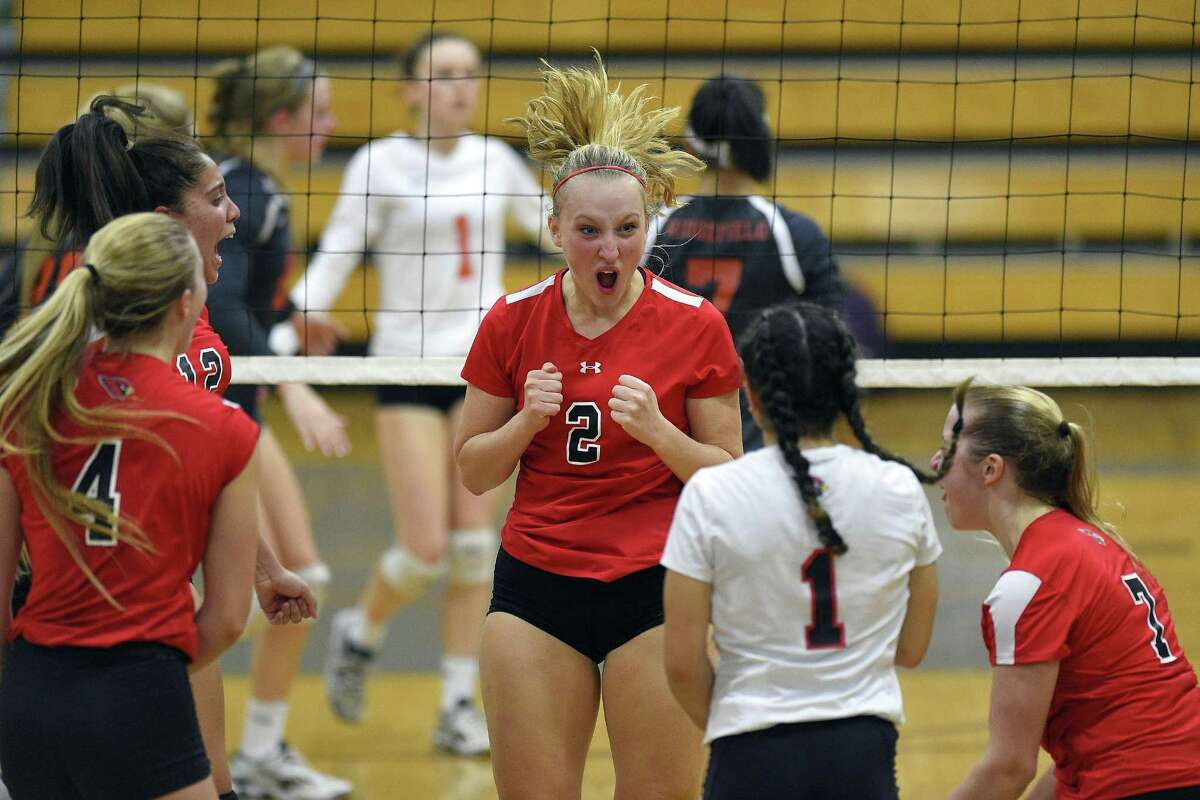 Greenwich Amelia Bartlett (2) celebrates a point against Ridgefield during the FCIAC Girls Volleyball semi-finals at Fairfield Ludlowe High School in Fairfield, Connecticut on Thursday, Nov. 2, 2017.