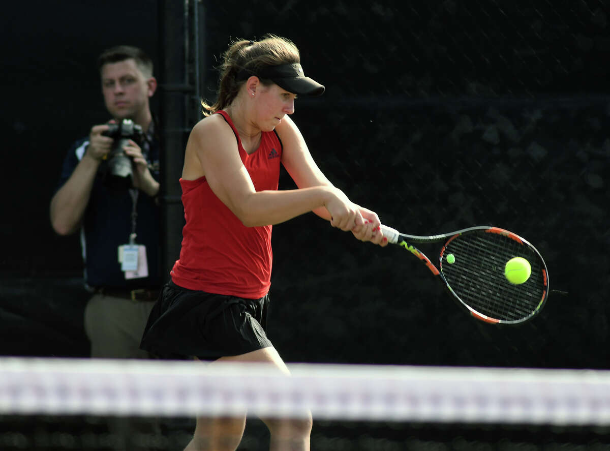 Houston Memorial's Natalija Dimitrijevic works her backhand during her Girl's Doubles match with partner Drew Morris against Cypress Ranch's Melissa LaMette and Rilee Marler in their 2017 UIL State Team Tennis Final at the George P. Mitchell '40 Tennis Center on the campus of Texas A&M University on Thursday, Nov. 2, 2017. (Photo by Jerry Baker/Freelance)