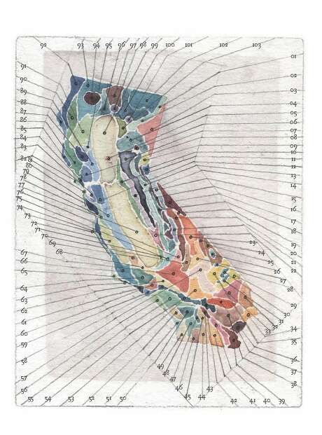 """An image of the state's ecological zones from """"The California Field Atlas"""" (Heyday), by Obi Kauffman. Photo: Heyday (book Stills), Courtesy Obi Kaufmann"""