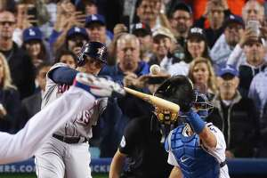 Houston Astros designated hitter Carlos Beltran (15) striking out to end Game 6 of the World Series at Dodger Stadium on Tuesday, Oct. 31, 2017, in Los Angeles. ( Michael Ciaglo / Houston Chronicle )