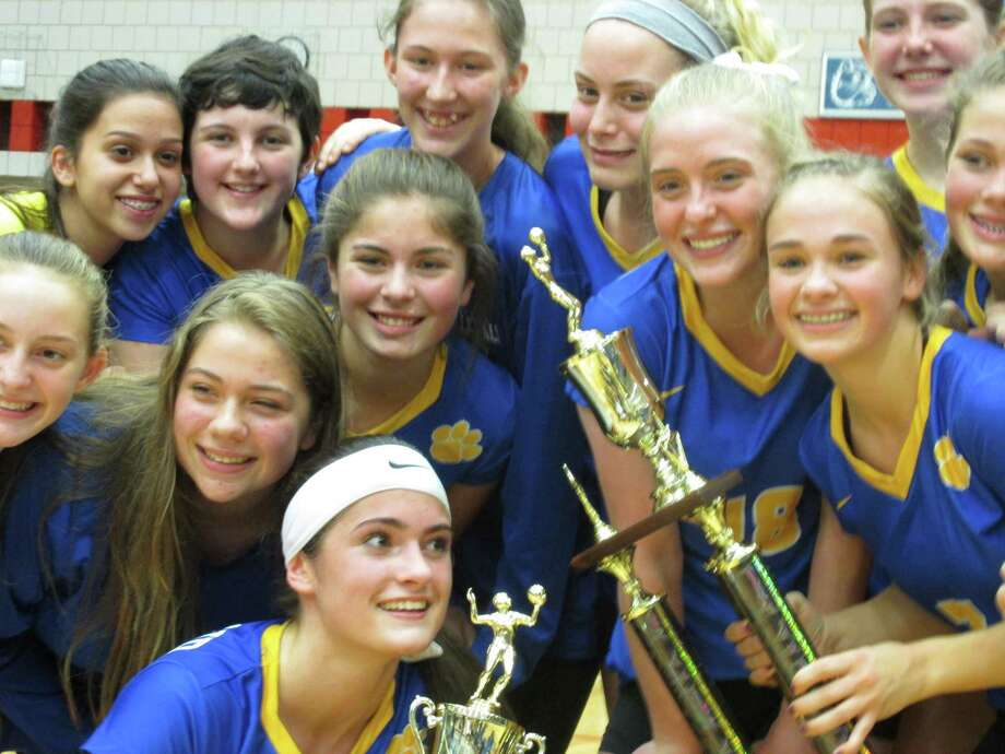 Seymour took home the NVL Championship trophy as well as the Tournament MVP Trophy for Molly Kennedy (lower left) in a Tournament Finals win over Torrington Thursday night at Crosby High School. Photo: Contributed Photo / Greenwich Time Contributed